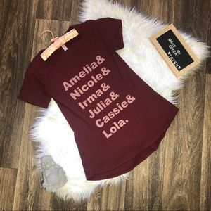 Lularoe Burgundy Red Name Short Sleeve Graphic Tee